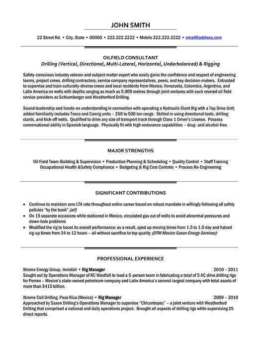 top oil gas resume templates samples og executive oilfield consultant sample p1 Resume Oil & Gas Resume Samples