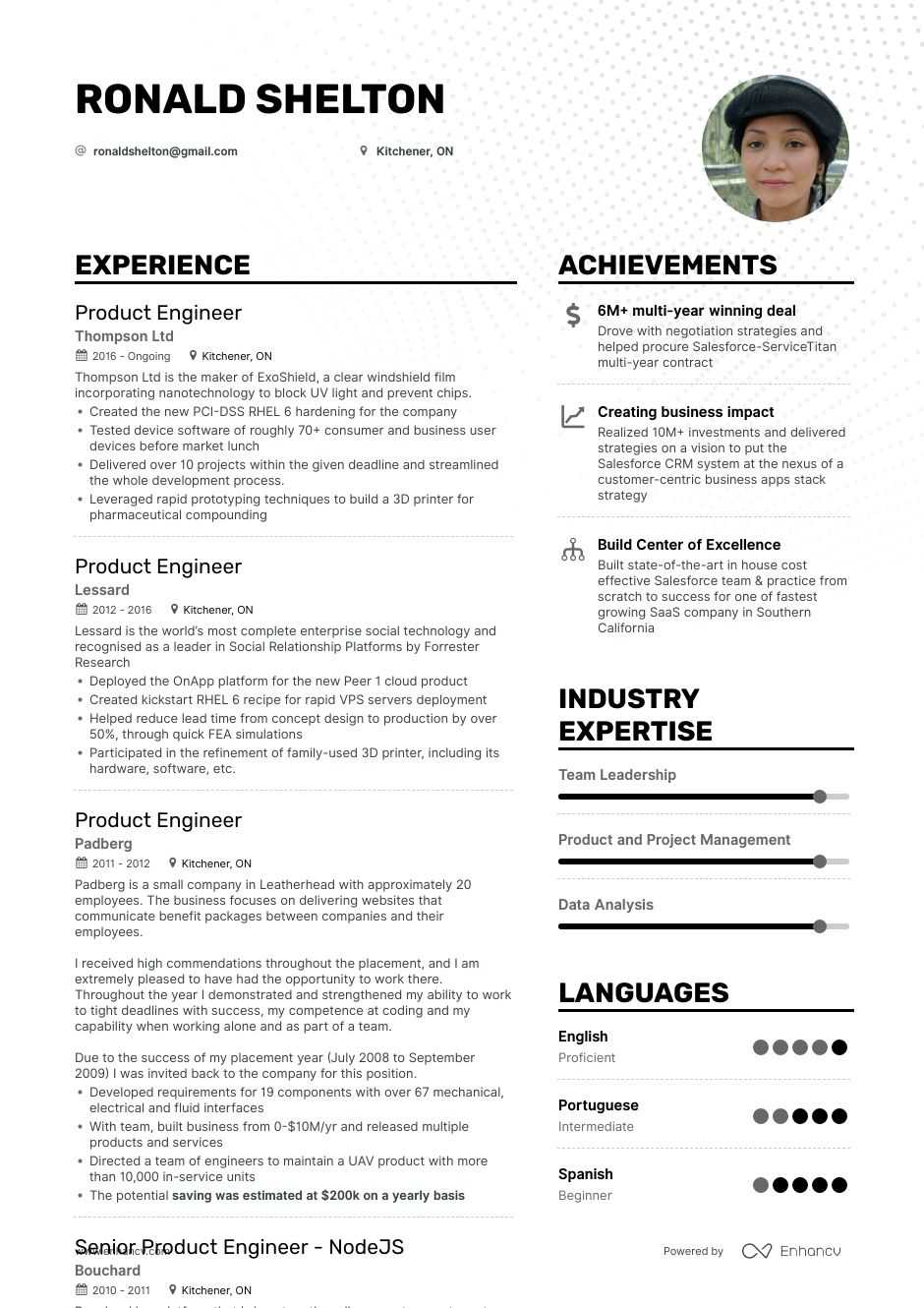 top product engineer resume examples samples for enhancv customer centric best template Resume Customer Centric Resume