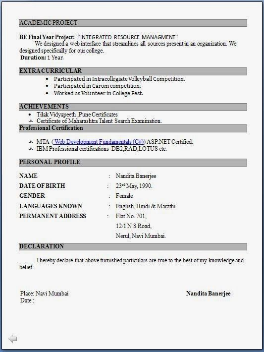 top resume formats for freshers job format in word free simple profile section of Resume Free Download Simple Resume Format For Freshers
