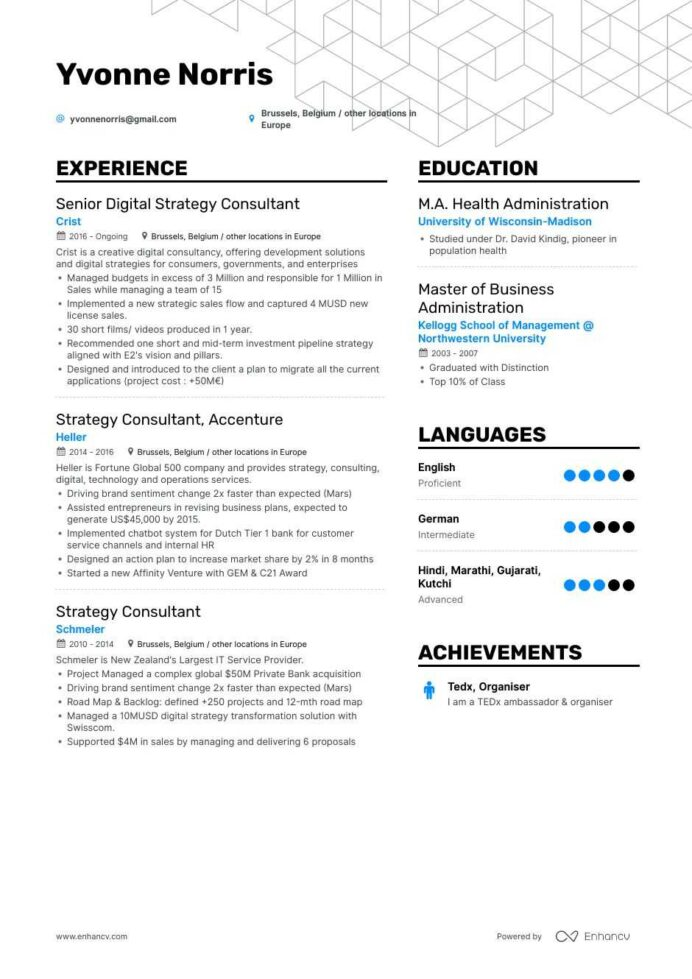 top strategy consultant resume examples samples for enhancv example of objective ojt Resume Strategy Consultant Resume