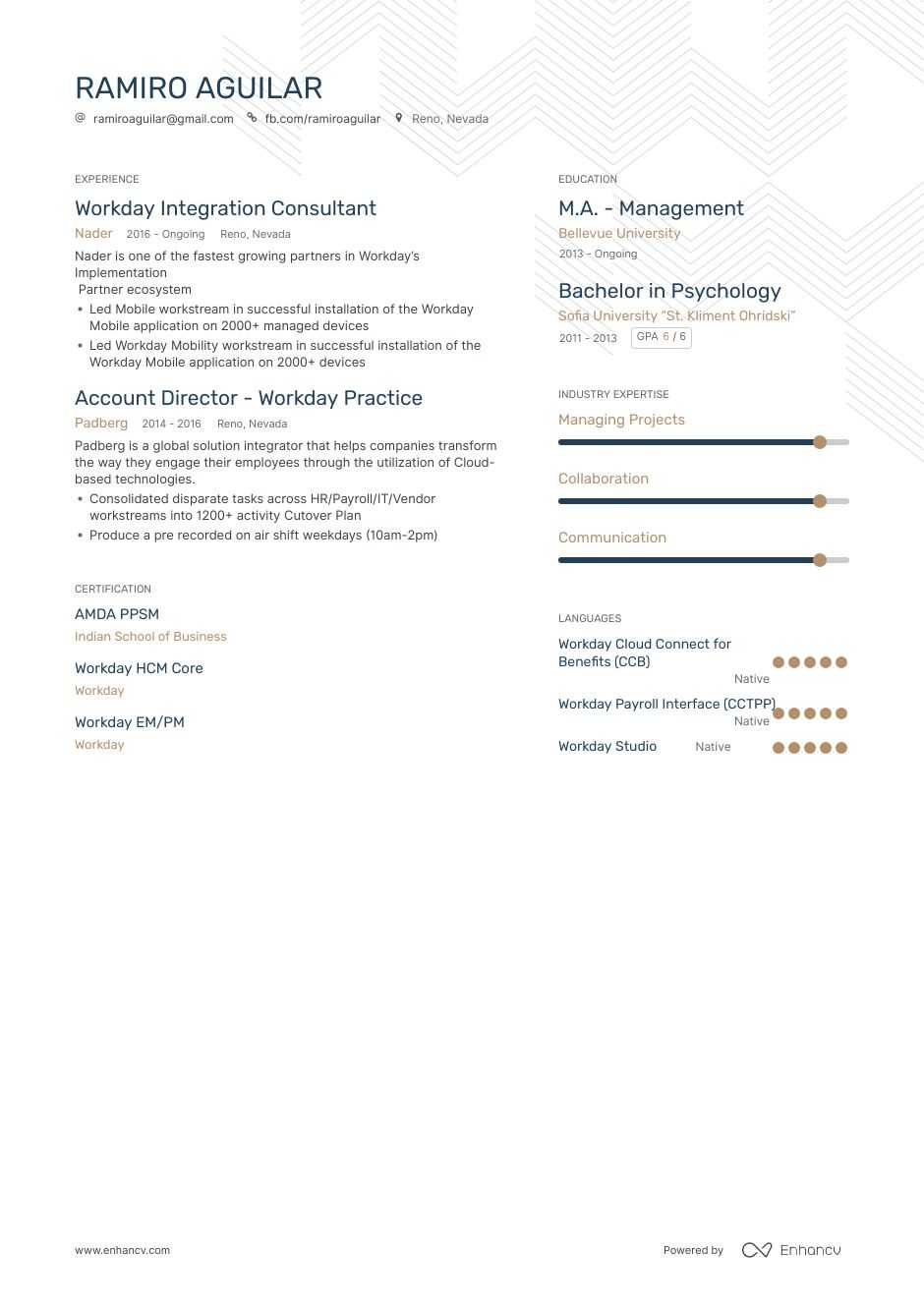 top workday resume examples samples for enhancv template general summary parser mba Resume Workday Resume Template