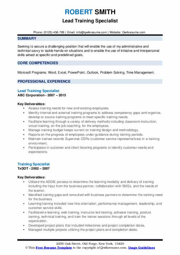 training specialist resume samples qwikresume format for cts company pdf academic Resume Resume Format For Cts Company