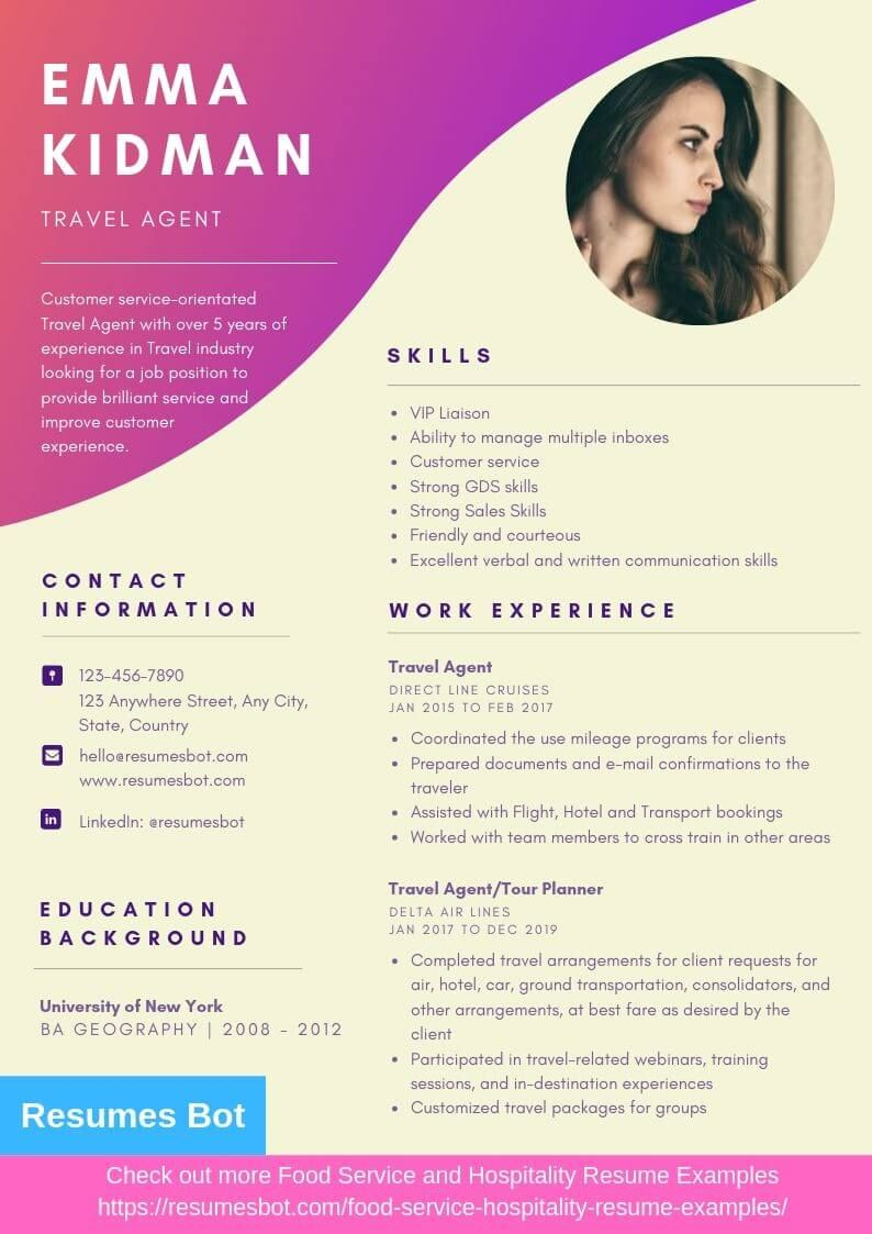 travel agent resume samples templates pdf resumes bot professional examples free best Resume Best Text Format For Resume