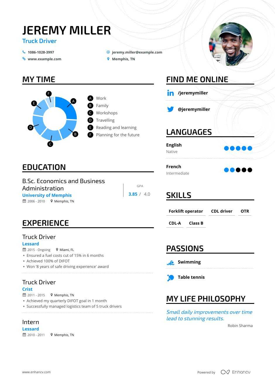 truck driver resume examples inside to tips enhancv template for cdl basketball coach sap Resume Resume Template For Cdl Truck Driver