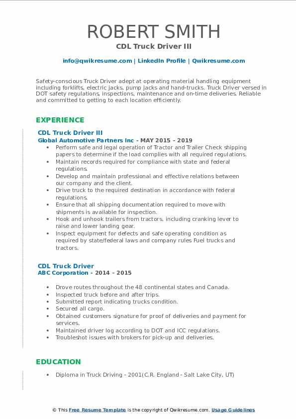 truck driver resume sample otr cdl pdf project management buzzwords for best new format Resume Otr Truck Driver Resume