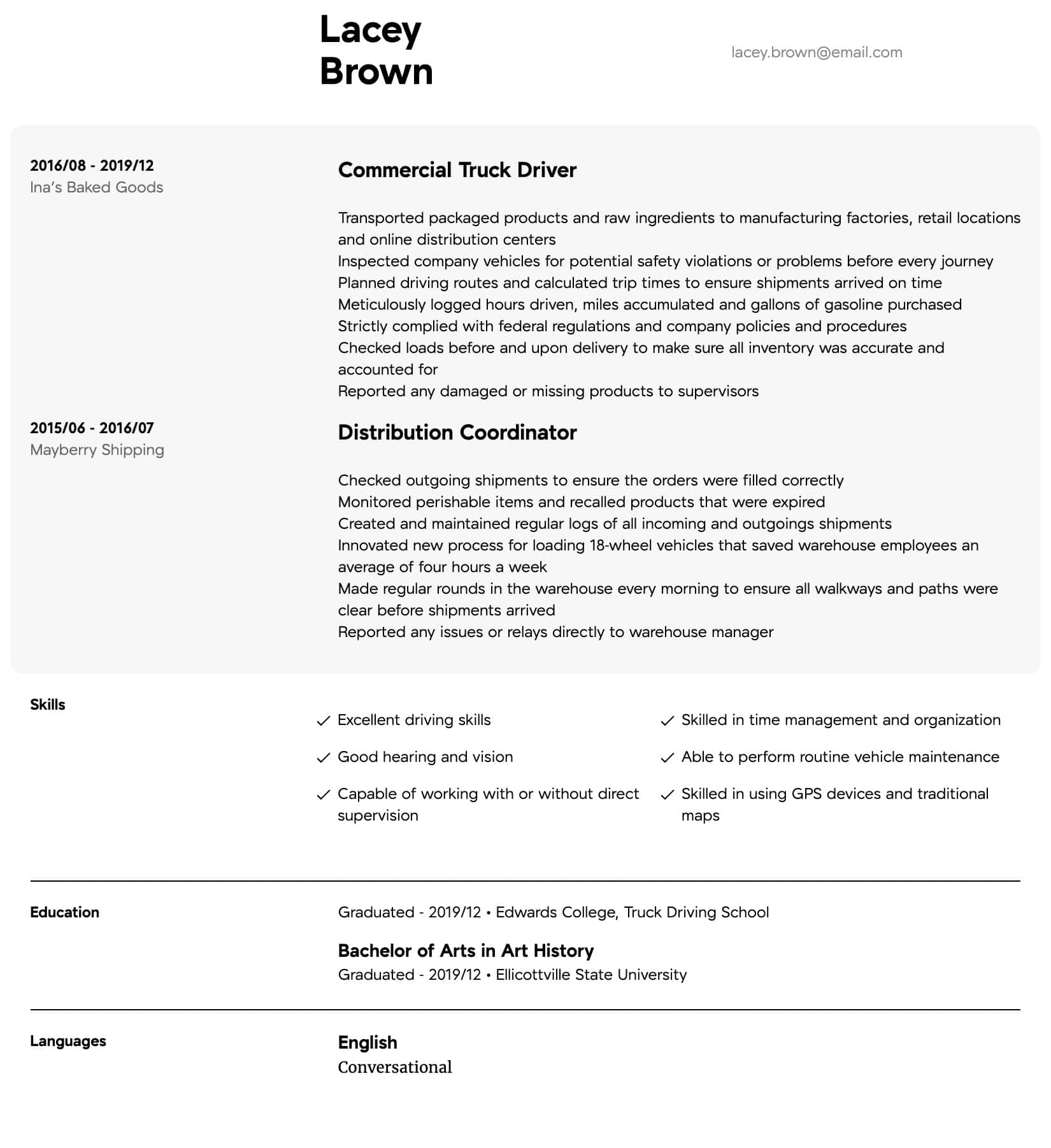 truck driver resume samples all experience levels of for intermediate cash flow public Resume Levels Of Experience For Resume