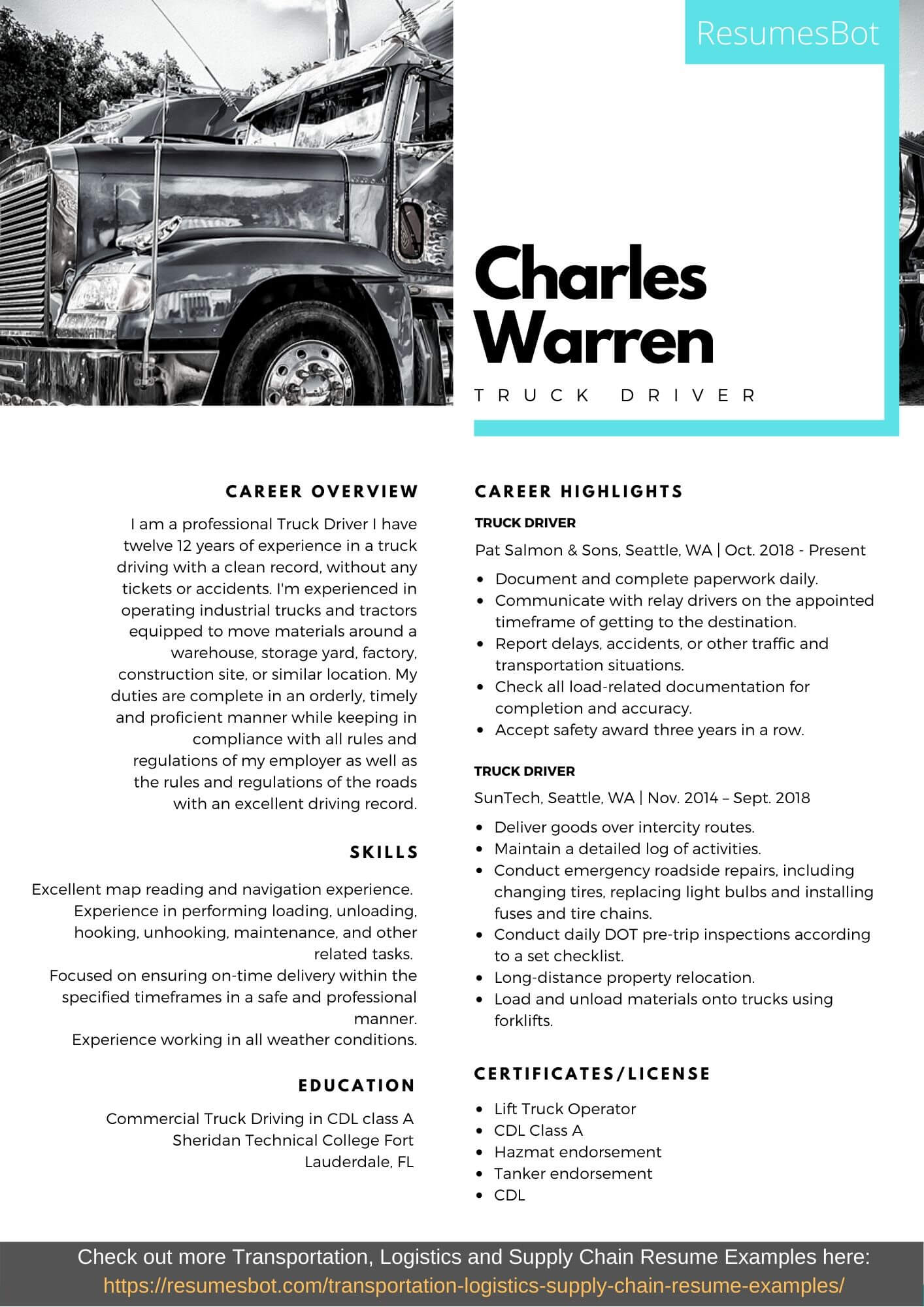 truck driver resume samples and tips pdf resumes bot cdl example home health aide Resume Cdl Class A Resume