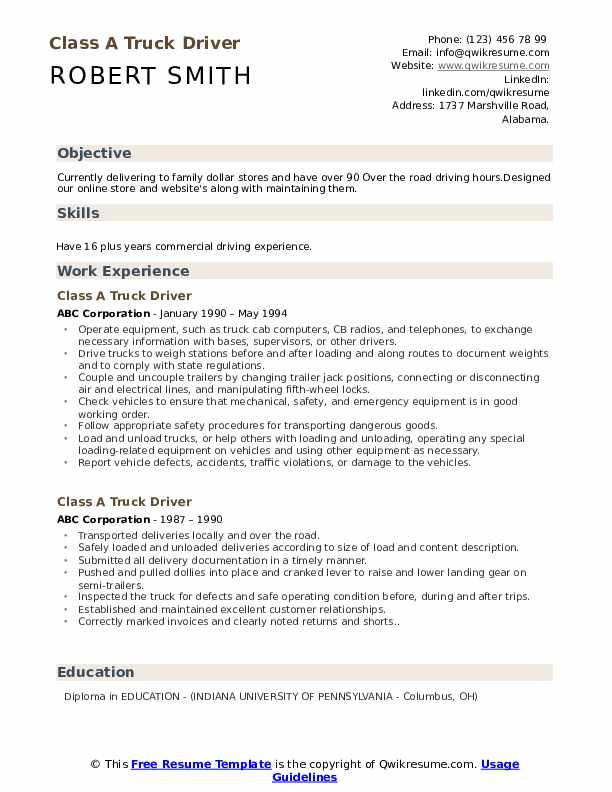 truck driver resume samples qwikresume template for cdl pdf fashion retail sample envato Resume Resume Template For Cdl Truck Driver