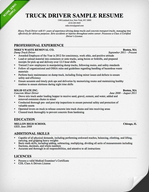 truck driver resume samples sample resumes direct care worker job skills for summary Resume Truck Driver Resume Sample