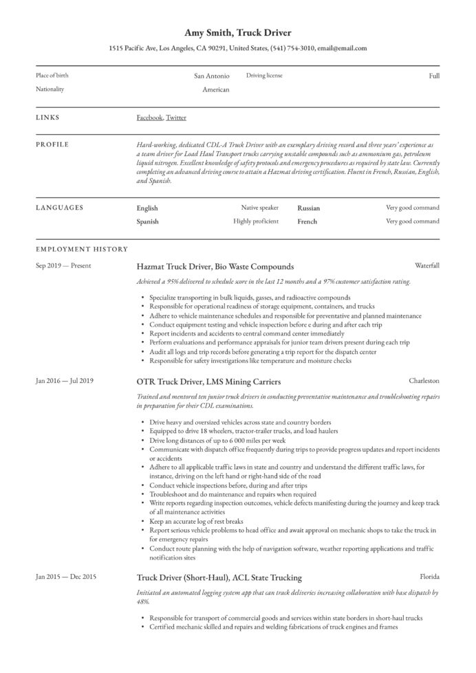 truck driver resume writing guide examples otr brief background summary for customer Resume Otr Truck Driver Resume