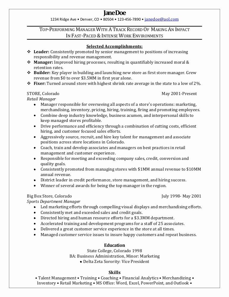 types of resume format marketing designer retail department manager examples template Resume Retail Department Manager Resume Examples