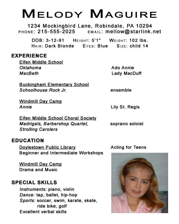 undefined acting resume template examples child dance for audition introduction sample Resume Child Dance Resume For Audition