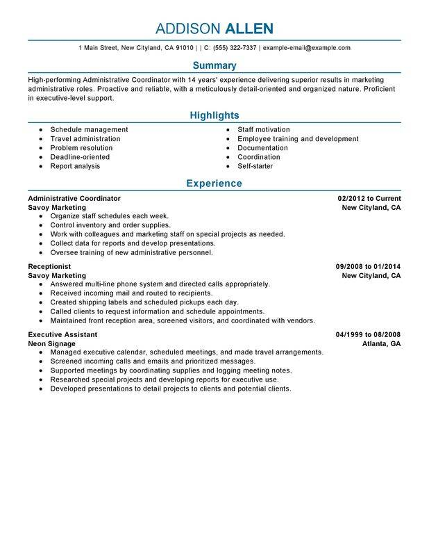 unforgettable administrative coordinator resume examples to stand out myperfectresume Resume Operations Coordinator Resume