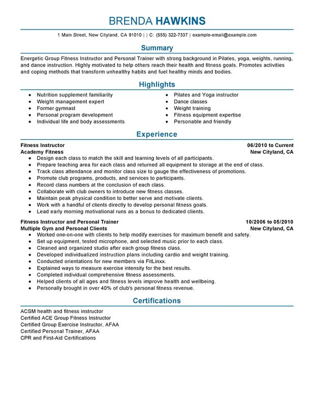 unforgettable fitness and personal trainer resume examples to stand out myperfectresume Resume Gym Front Desk Resume