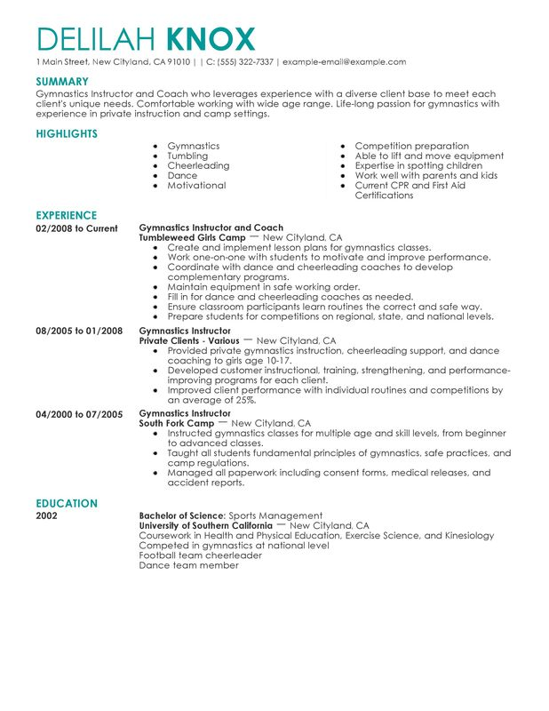 unforgettable gymnastics instructor resume examples to stand out myperfectresume Resume Cheerleading Coach Resume