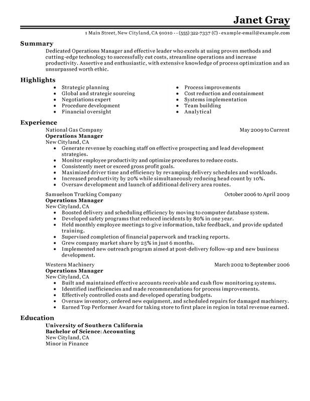 unforgettable operations manager resume examples to stand out myperfectresume senior Resume Senior Operations Manager Resume Template