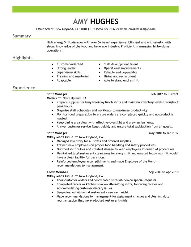 unforgettable shift manager resume examples to stand out myperfectresume supervisor food Resume Shift Supervisor Resume