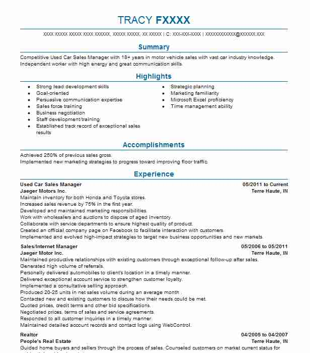 used car manager resume example resumes livecareer examples daycare objective cashier Resume Car Sales Resume Examples