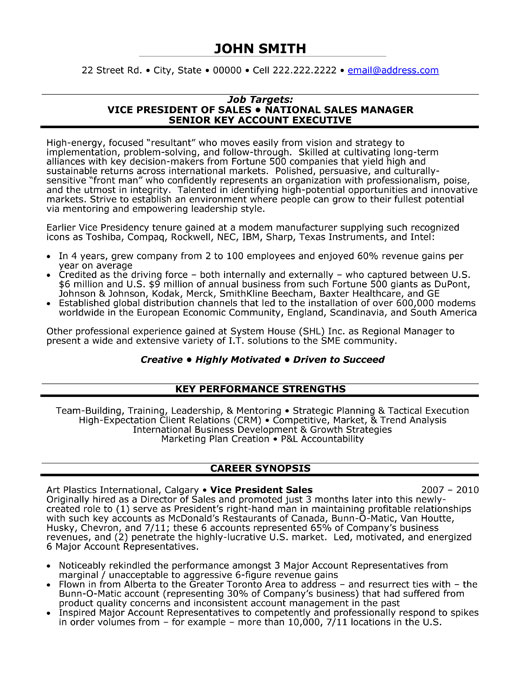 vice president of resume sample template executive examples vp national manager securitas Resume Executive Vice President Resume Examples