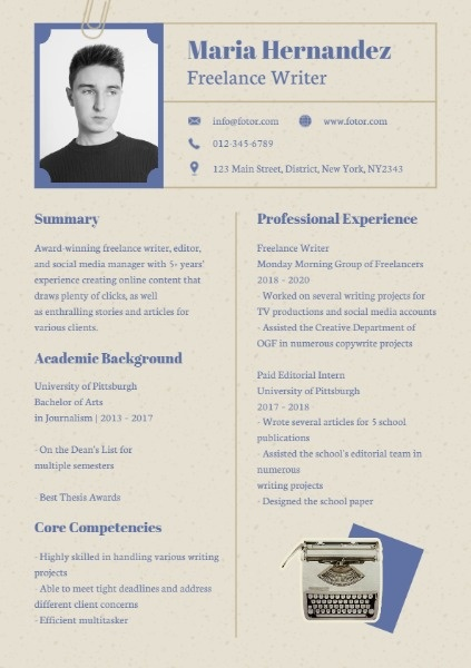 vintage freelance writer resume template fotor design maker for thumb free instant review Resume Resume For A Freelance Writer