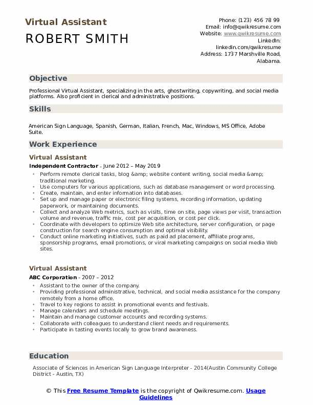 virtual assistant resume samples qwikresume remote work template pdf examples of Resume Remote Work Resume Template