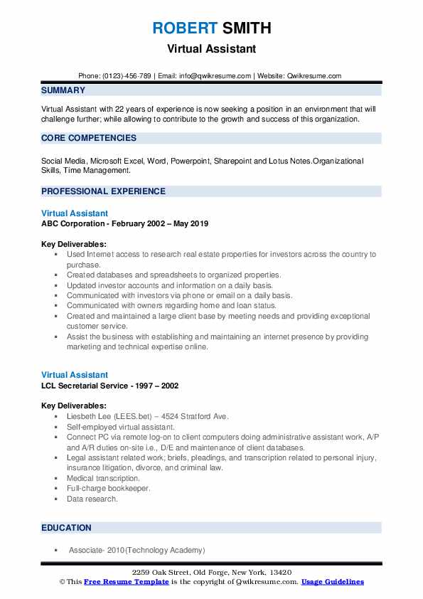 virtual assistant resume samples qwikresume remote work template pdf job fair example Resume Remote Work Resume Template