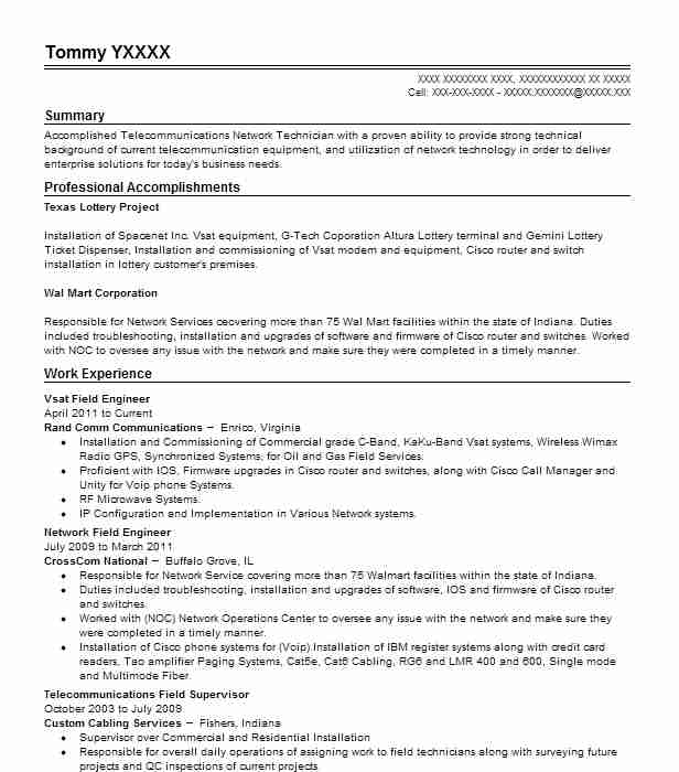 vsat engineer field service representative resume example proactive communications Resume Network Field Engineer Resume