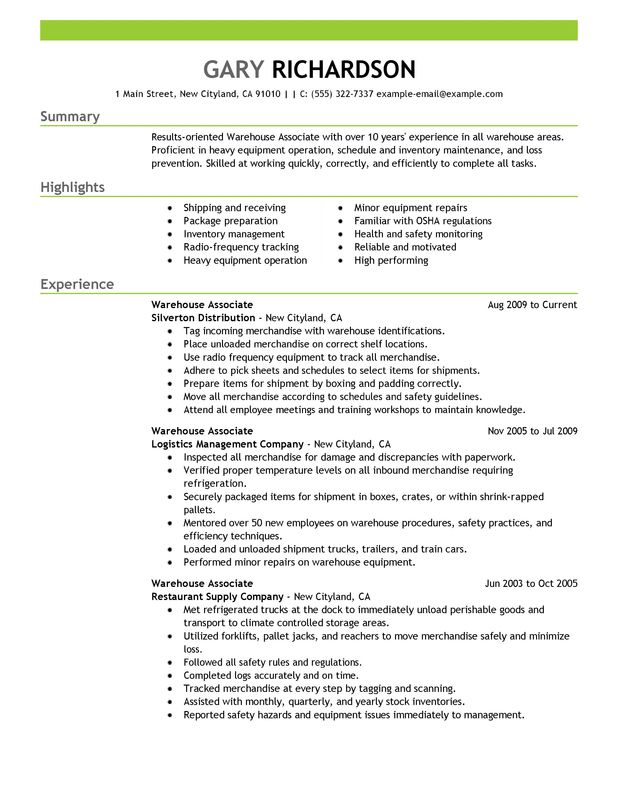 warehouse associate resume examples created by pros myperfectresume for worker Resume Resume Examples For Warehouse Worker
