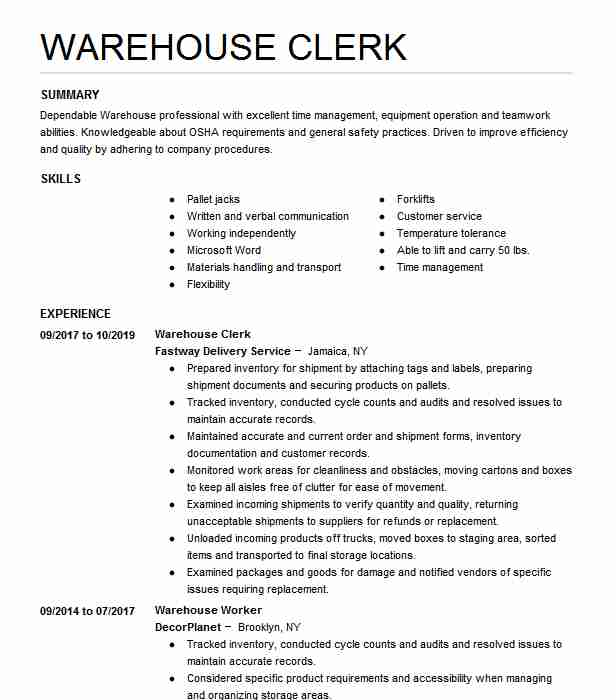 warehouse clerk resume example company name fort examples texturing artist supply chain Resume Warehouse Clerk Resume Examples