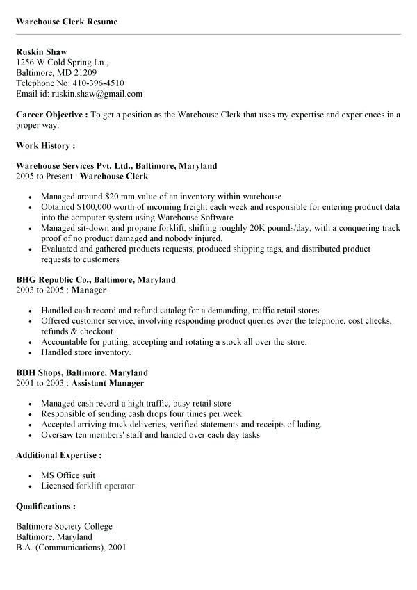 warehouse clerk resume sample ipasphoto examples shipping amazing free teacher skills Resume Warehouse Clerk Resume Examples