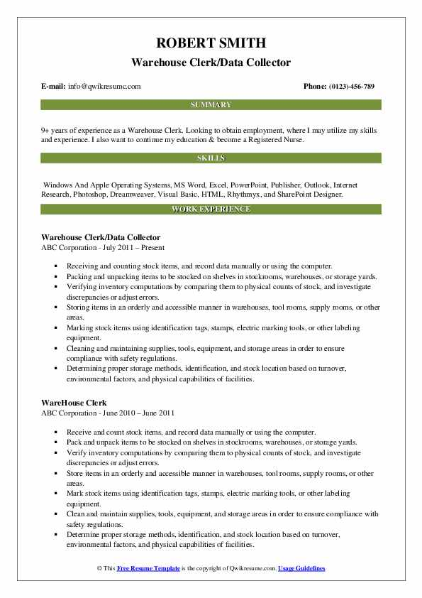 warehouse clerk resume samples qwikresume examples pdf upload template sample high school Resume Warehouse Clerk Resume Examples