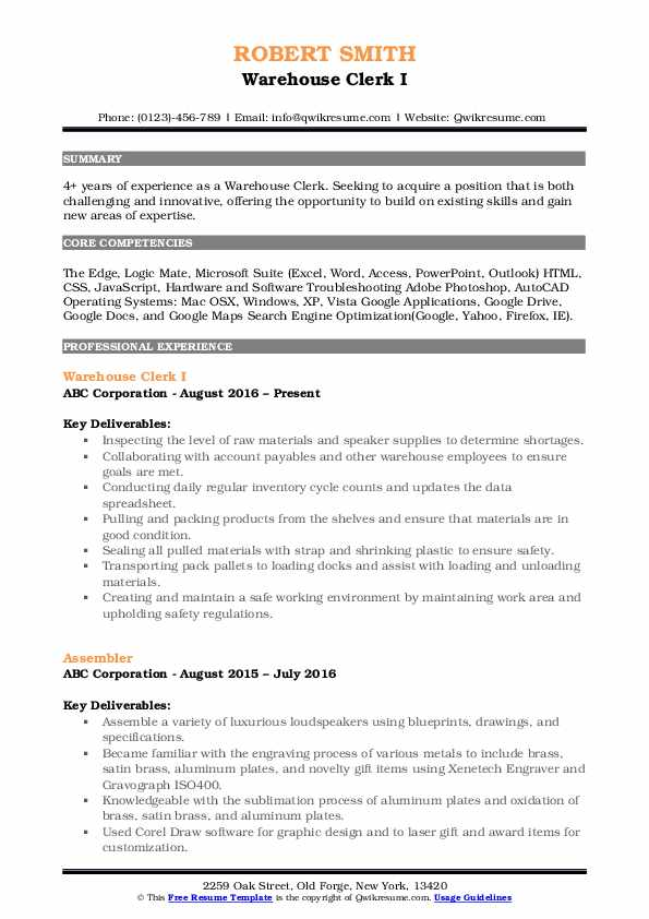 warehouse clerk resume samples qwikresume examples pdf very basic template usajobs Resume Warehouse Clerk Resume Examples