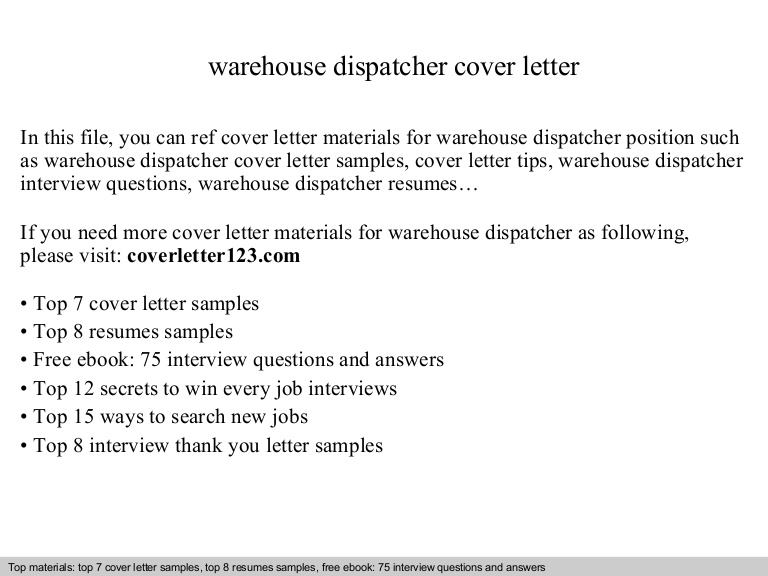 warehouse dispatcher cover letter resume for position warehousedispatchercoverletter Resume Resume For Dispatcher Position