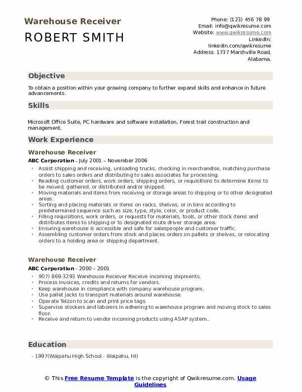 warehouse receiver resume samples administrative assistant virtual federal process social Resume Process Assistant Resume