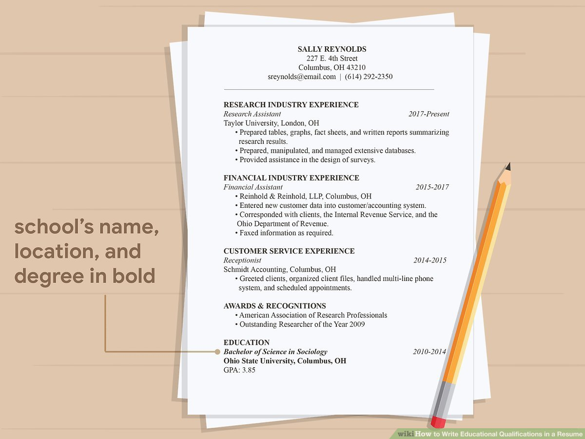 ways to write educational qualifications in resume wikihow for aid11495607 v4 1200px step Resume Qualifications For Resume