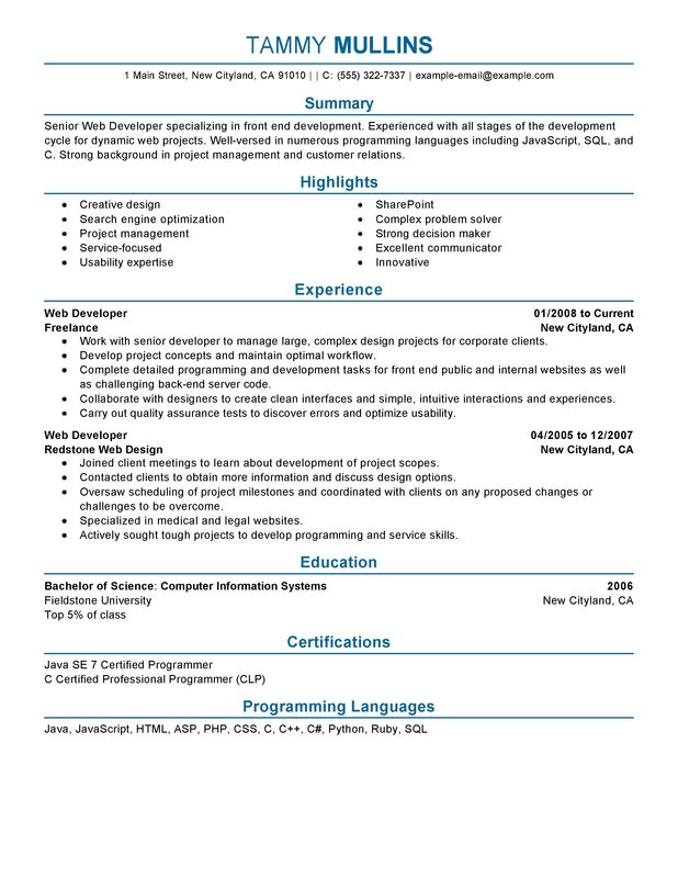 web developer resume examples created by pros myperfectresume freelance computers and Resume Freelance Web Developer Resume
