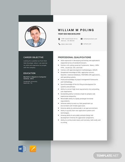 web developer resume templates pdf free premium sample for front end template operational Resume Resume Sample For Front End Developer