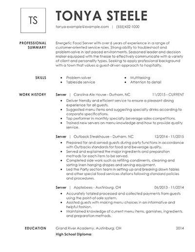 with food server resume samples format experience examples solution designer leadership Resume Resume Summary Examples For Server