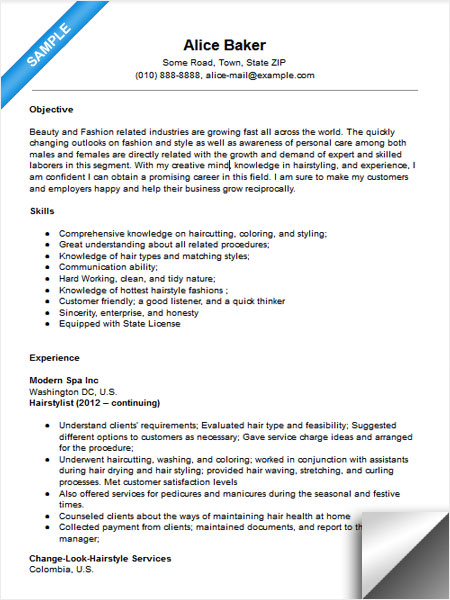 with hairstylist resume samples format hair stylist sample customer service summary Resume Hair Stylist Resume Sample