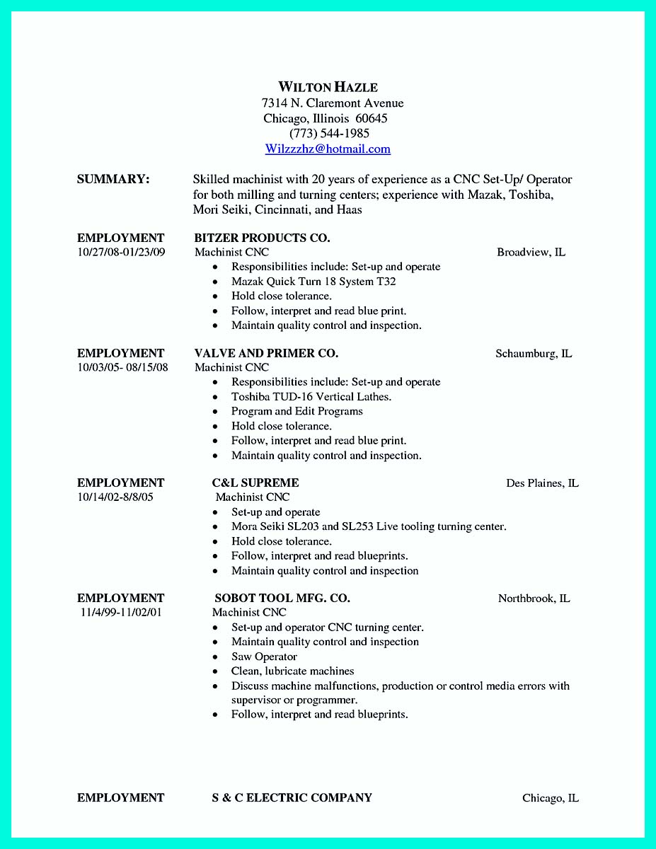writing your qualifications in cnc machinist resume must entry level best standard font Resume Entry Level Machinist Resume