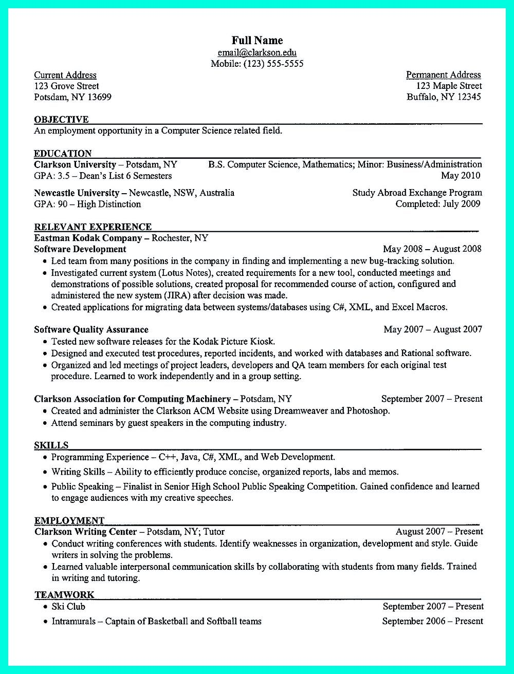 you include in the computer science resume depends on training as well previous Resume Computer Science Resume Builder