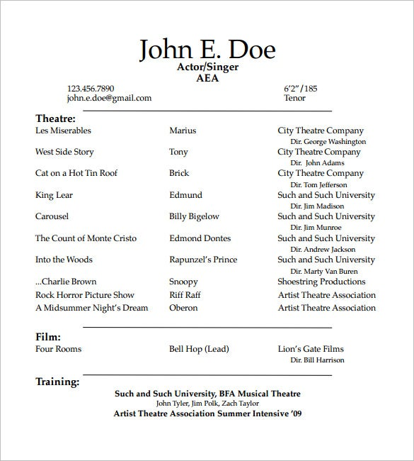 acting resume templates free samples examples formats premium format template student Resume Acting Resume Format Template