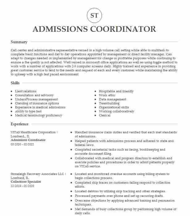 admissions coordinator resume example company name rosenberg safety examples unique Resume Admissions Coordinator Resume
