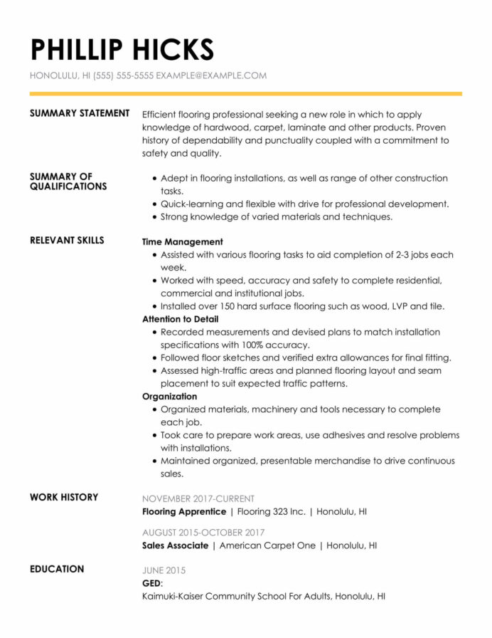 amazing construction resume examples livecareer statement insightful func flooring Resume Resume Statement Examples