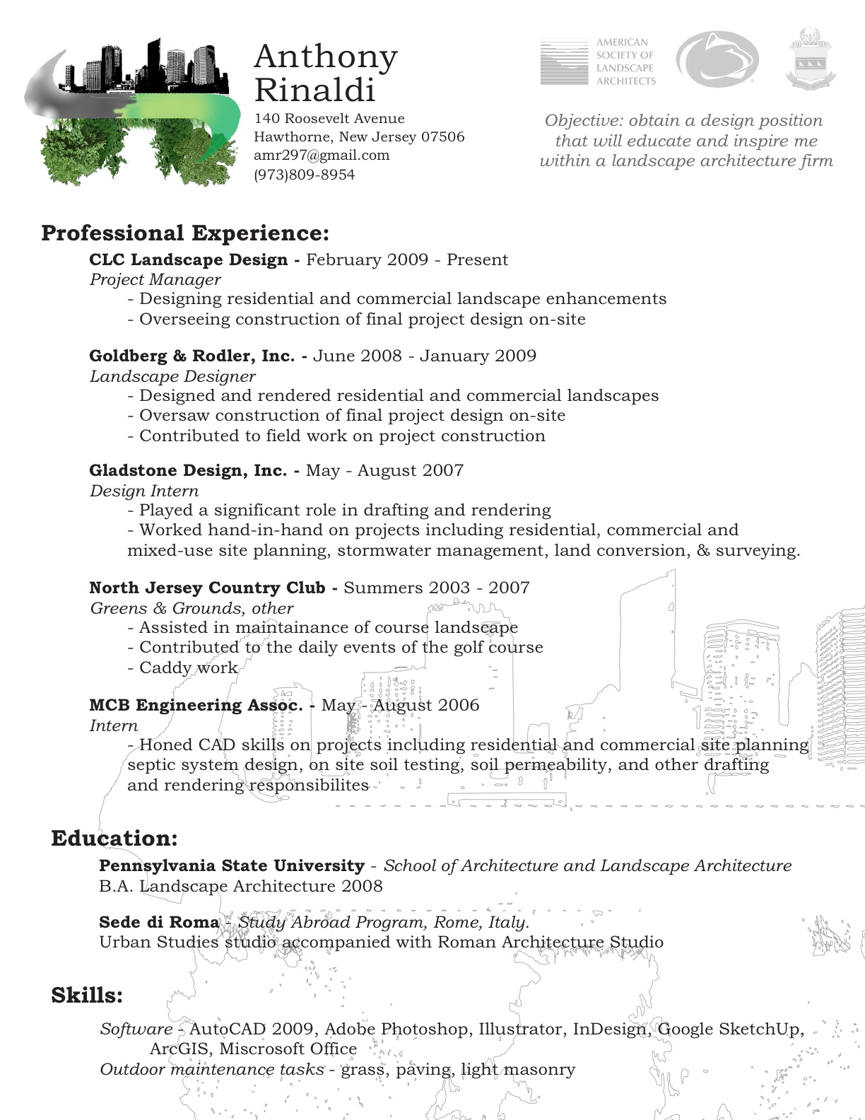 architect april landscape resume sample objective for college student call center rep Resume Landscape Architect Resume Sample