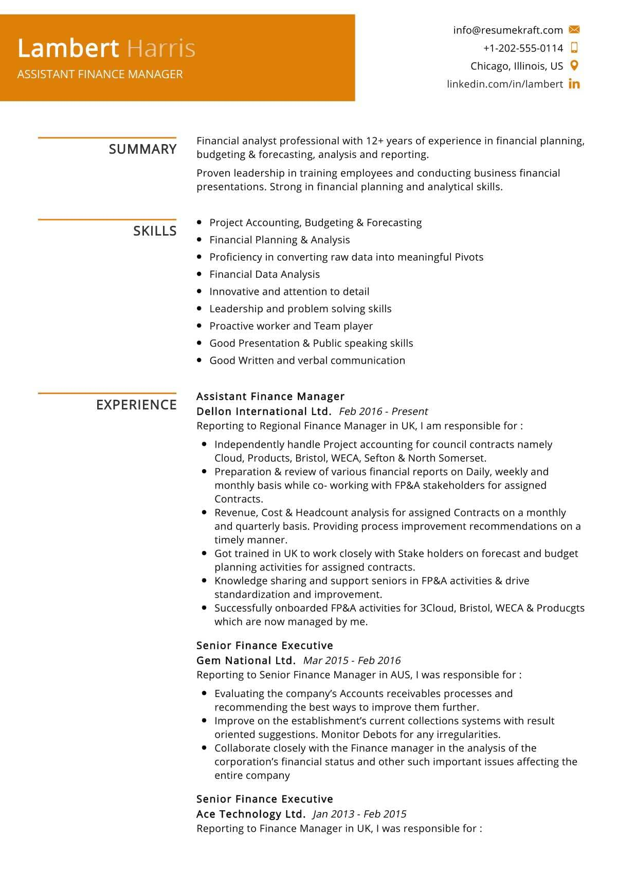 assistant finance manager resume example resumekraft summary making the perfect visualcv Resume Finance Manager Resume Summary