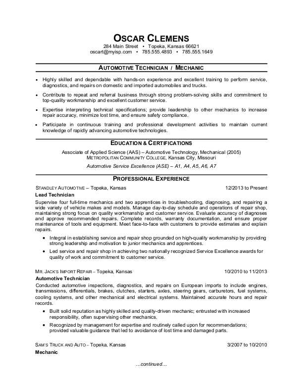 auto mechanic resume sample monster diesel samples examples after school group leader don Resume Diesel Mechanic Resume Samples Examples