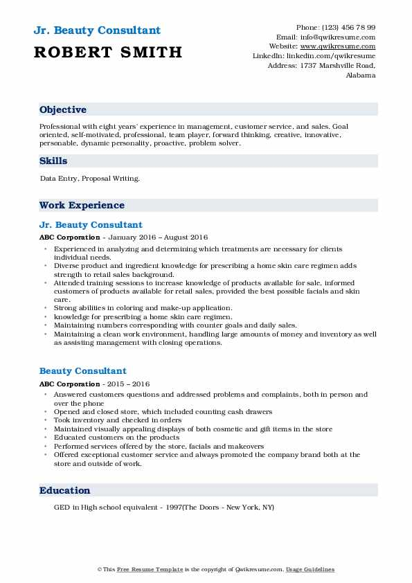 beauty consultant resume samples qwikresume job description pdf computer science format Resume Walgreens Beauty Advisor Resume