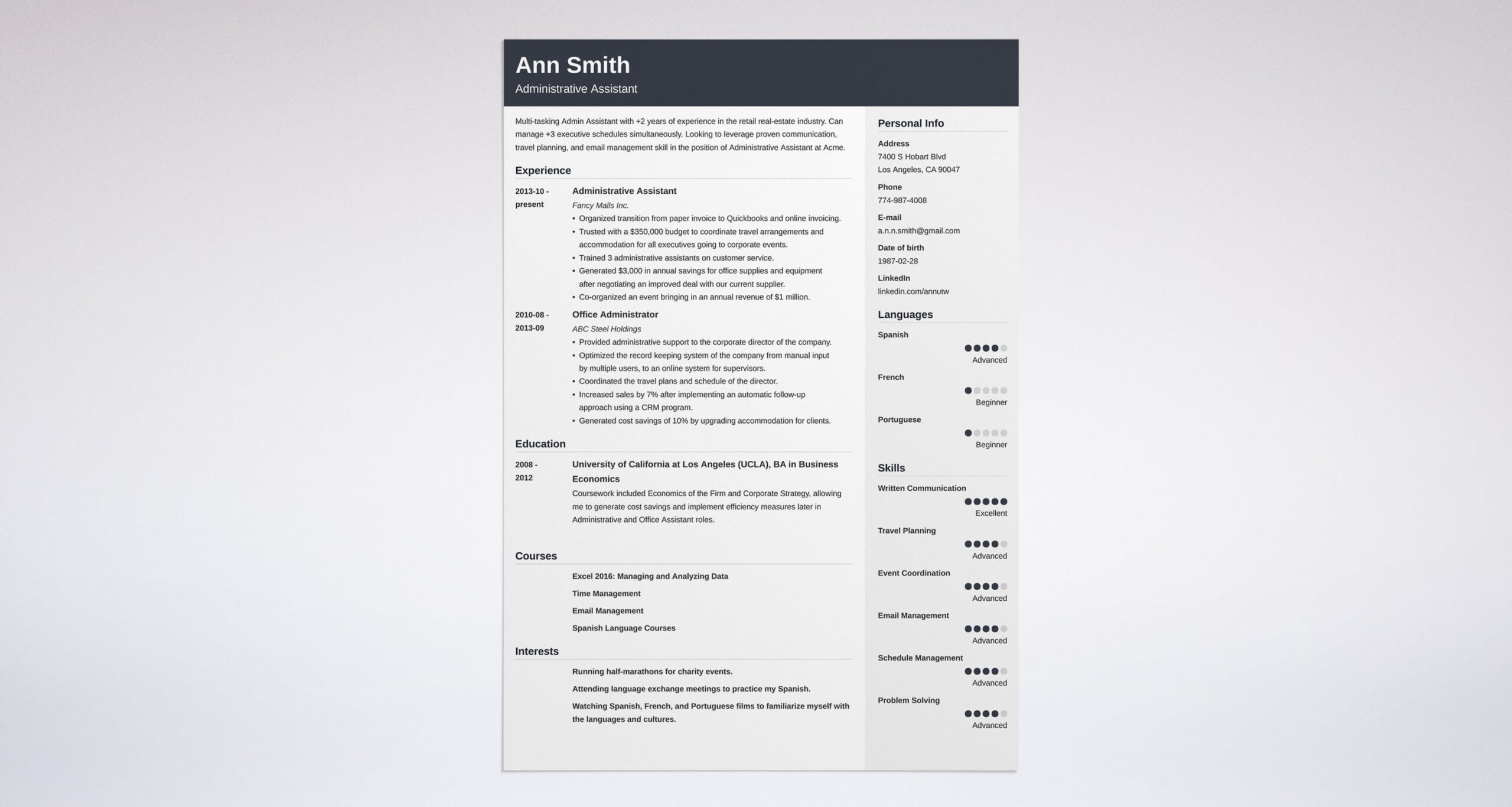 best administrative assistant resume examples admin summary example mail format for Resume Admin Assistant Resume Summary Examples