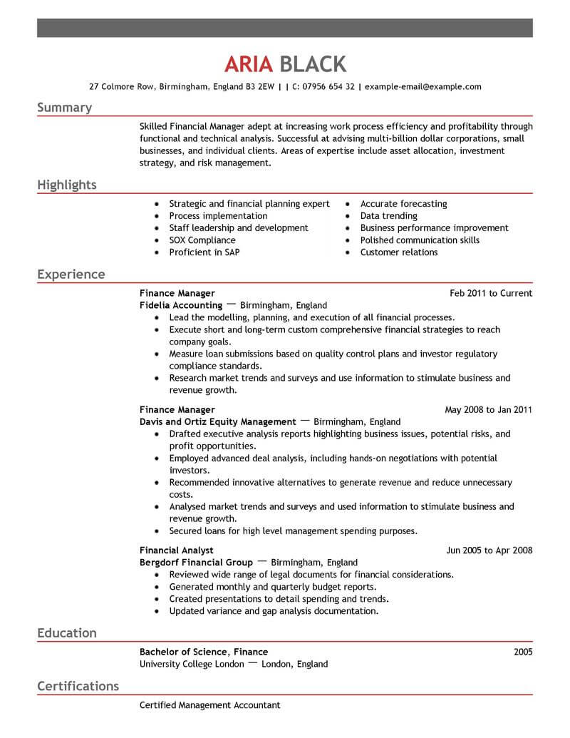best finance manager resume example livecareer professional emphasis aux customer service Resume Finance Professional Resume